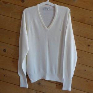 Christian Dior Cream V-neck Orlon Acrylic Sweater